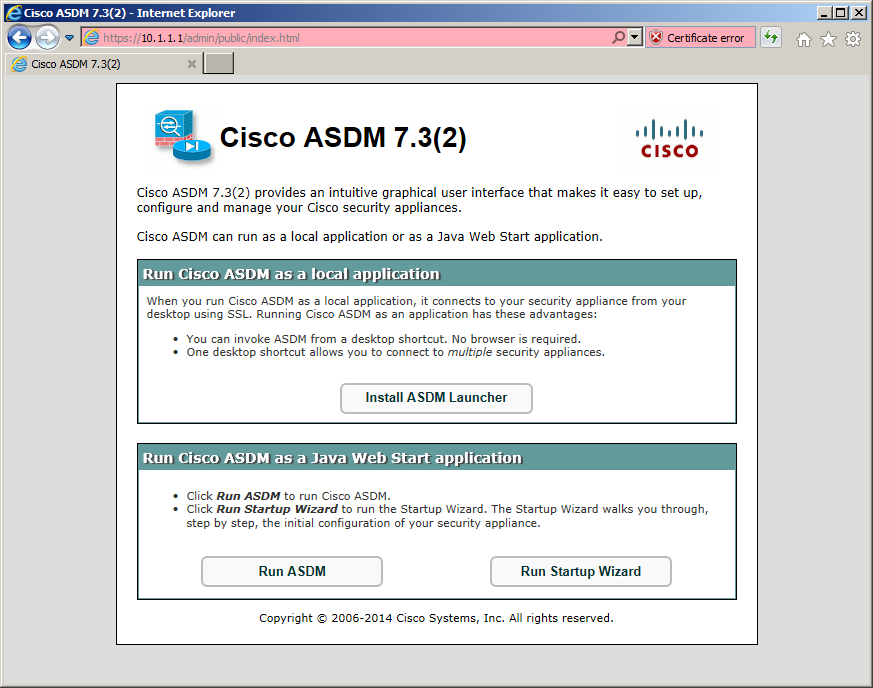 Free CCNA Workbook - CCNA Security - Lab 7-9 - Navigating to the Cisco ASDM