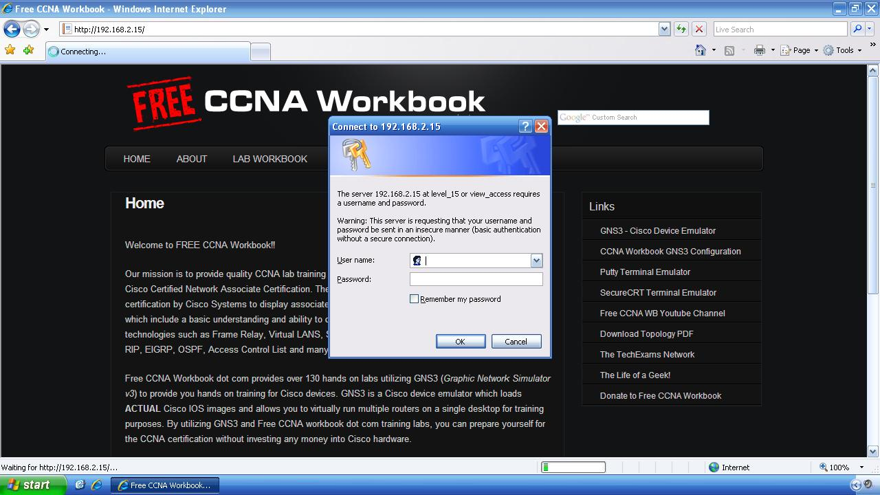 Configuring Cisco IOS Web Server Authentication | Free CCNA Workbook